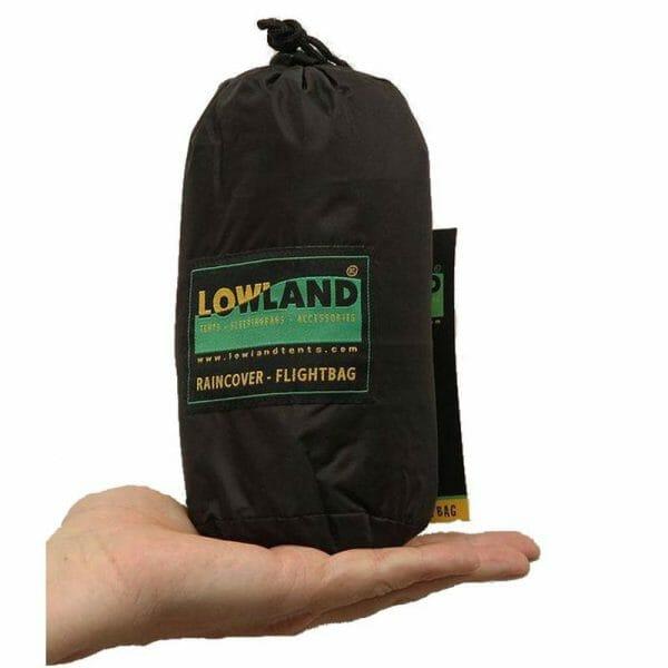 Backpackkit lowland flightbag regenhoes voor backpackers klein