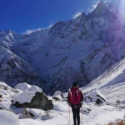 Backpacken in Nepal sneeuw