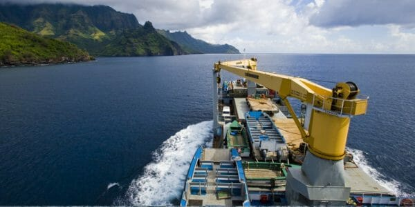 Backpacken per zeecontainer uitzicht